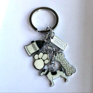 Coach White Doggy Keychain Charm